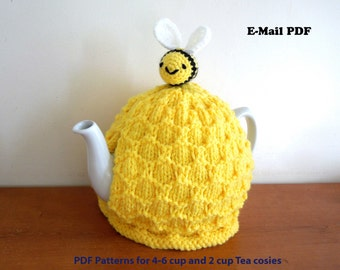 Bee tea cosy beehive cosy and bee PATTERN ONLY, E-MAIL. 4-6 cup (2 pt, 40 fl oz) standard teapot and small 2 cup (450ml) teapot, yellow cosy