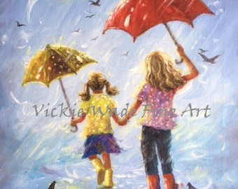 Sisters Art Print, two sisters wall art, girls room wall art two blonde sisters, sister gift, rain girls umbrellas, Vickie Wade