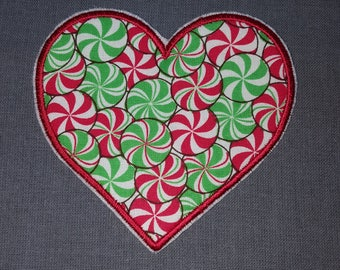 Christmas Holiday Red Green White Candy Heart Iron on No Sew Embroidered Patch Applique