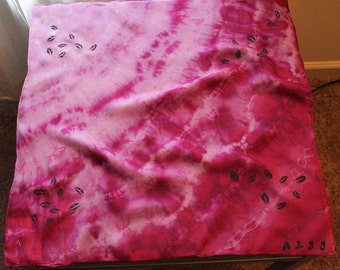"Uneven Dyed 22""x22"" Bandana and Stamped"