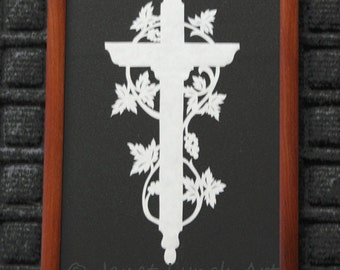 Easter Cross With Grape Vine - Scherenschnitte - Hand Paper Cutting Art signed and dated By Janet Lynch - Framed