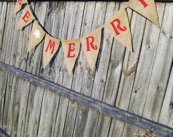 Be Merry Banner, Be Merry Burlap Banner, Be Merry Christmas Banner, Be Merry, Christmas decor, Christmas Decoration, Christmas Burlap
