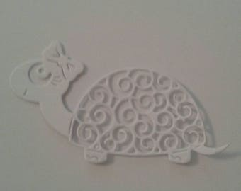 Turtle - intricate die cut - flat colour cardstock - approx 4.5cm/1.8 inches x 8cm/3.1 inches