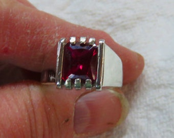 Ruby Ring - Men's Ruby & Sterling Silver Ring Size 10-10 1/4 - July Birthstone Ruby Ring for Men