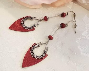 Red Earrings ~ Silver Jewelry ~ Upcycled Jewelry ~ Dangle Earrings ~ Assemblage Earrings ~ FREE SHIPPING