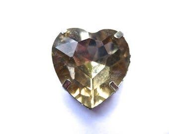 Heart Topaz glass crystal separator, set of 6