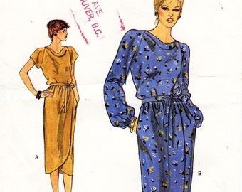 Sz 12 - Vogue Dress Pattern 7541 - Misses' Loose-Fitting, Cowl Neck, Blouson Bodice Dress & Belt in Two Variations - Very Easy Vogue Pattern