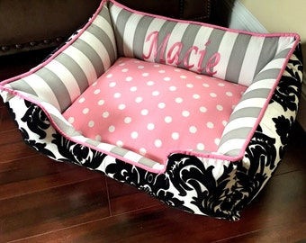 Pink Dog or Cat Bed  | Choose your own fabrics | Free Embroidery | Dog Bed Small | Dog Bed Large | Pet Bedding | Rectangle Dog Bed