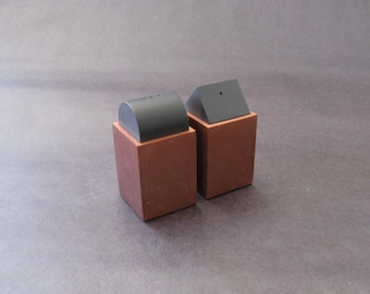 Pair Postmodern Anodized Aluminum Salt + Pepper Shakers - David Tisdale, Elika 1988 NIB
