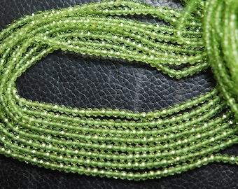 Gems Quality Strand, 13 Inches Strand, AAA Super Rare Peridot Faceted Round Rondelles, Size 3mm