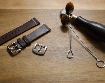 Minimalist Vegetable Tanned Kangaroo Leather Watch Strap / Australian Made