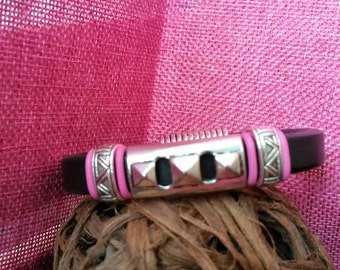 Black leather bracelet with silver diamond spike slider and accented slider beads, pink silicon rings, magnetic clasp