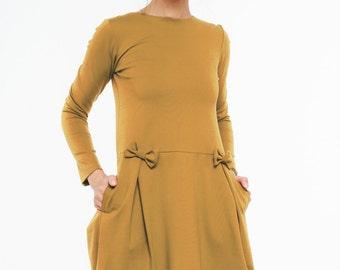 Engagement dress | Mustard dress | Slim fit dress | LeMuse engagement dress