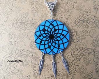 Dream catcher pendant necklace 68cm polymer clay