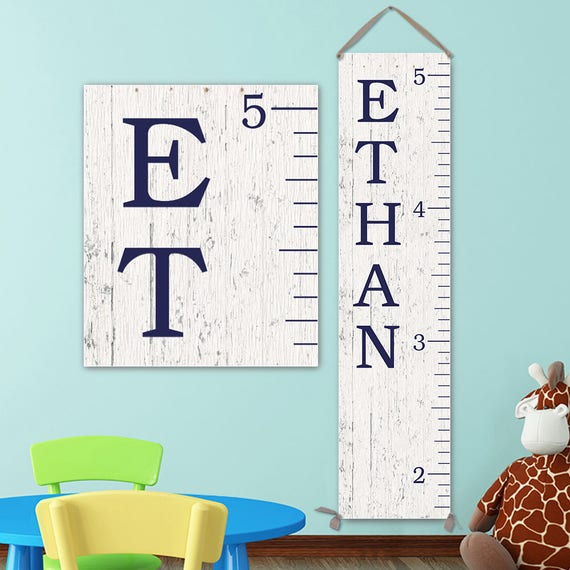 Growth Chart Ruler - Personalized Canvas Growth Chart, Growth Chart Navy, Wood Growth Chart Style, Boy Growth Chart - GC0127N