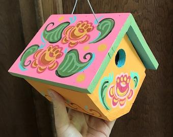 """Birdhouse Indoor-Outdoor Handpainted """"Pink Rosemal"""""""