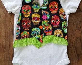 Mexican Sugar Skull Baby Bodysuit Vest, Baby Onesie, Sugar Skulls, Day of the Dead, Mexican Sugar Skull Clothing, Day of the Dead Mexico