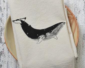 Whale Cloth Napkins - Set of 4 - Organic Cotton - Black - Unpaper Towels - Washable - Reusable - Humpback Whale - Cotton Napkin Set