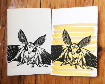 "Moth - Hand Printed Greeting Card - 5x7"""