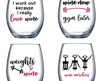 Set of 4 Stemless Wine Glasses with funny/cute fitness sayings - fitness themed wine glasses