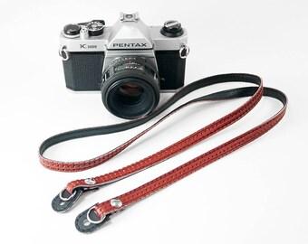 Super Slim Red VW Camera Strap Made of Vintage Volkswagen Vinyl for Leica