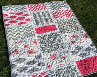 Teen Girl quilt ,READY TO SHIP Modern quilt, handmade quilt  ,blanket . pink and gray quilt , toddler quilt ,size 52 x 43 inch.chevron quilt