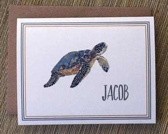 Personalized Note Cards, Turtle Cards, Thank You, Stationary, Custom, Folded Name Cards with Envelopes - Set of 10