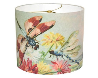 MEDIUM Drum Lamp Shade - Chrysanthemum and Dragonflies 10 11 12 Inch Bohemian Decor Lampshade - Custom Made to Order Tropical Beach Decor