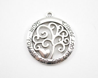 10pcs - Mom You Are The Heart of Our Family - Family Tree Charms - Tree of Life Charms - Jewelry Supplies - C38