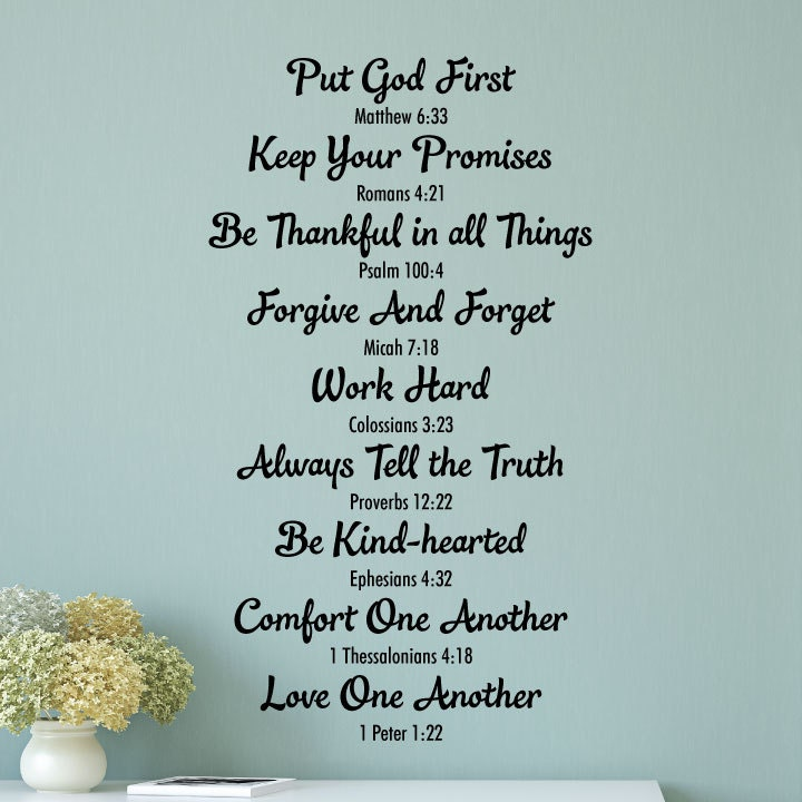 Wall Quote Decal Bible Family Rules Religious Bible Verse