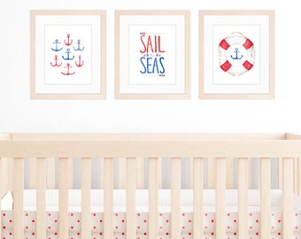 Nautical Nursery Set of 3 8x10 / A4 Prints, Nautical Nursery Art, Watercolour Anchors and Nautical Illustrations