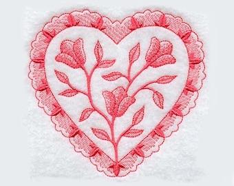 Large Toile Heart Tea Towel | Embroidered Kitchen Towel | Personalized Kitchen Towel | Embroidered Towel | Heart Tea Towel | Dish Towel
