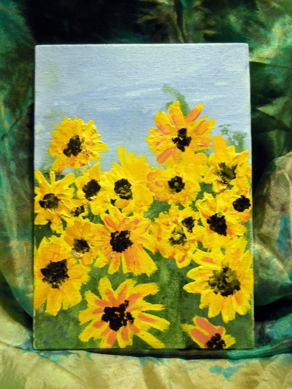 """SUMMERSHINE, Acrylic Painting on 7 x 5"""" Canvas Panel, Folk Art, Stacey Torres Artist, Yellow Flowers"""