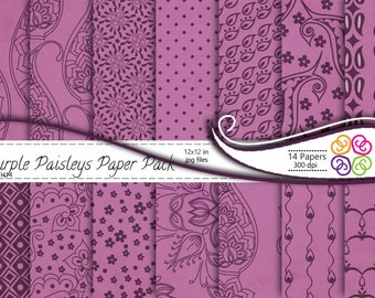 Purple Paisley Digital Paper Pack , Paisley Digital Scrapbooking Paper Pack  - Commercial Use ,Instant Download