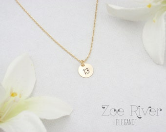 Personalized rose gold, silver or gold disc necklace