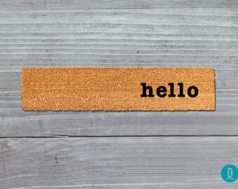 Hello Skinny Doormat, Hello Door Mat, Hello Welcome Mat, Skinny Door Mat, Skinny Doormat, Slim Doormat, Slim Mat, Hello Mat, Thin Doormat
