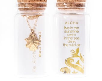 Bottled Gold Dipped Opihi Shell Necklace-Hawaii Jewelry,Gift Jewelry,BFF gift,sister gift,best friend gift,hawaii bridesmaid gift,teen gift
