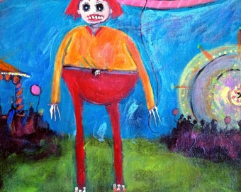 See The Freak ~ Original Acrylic Painting by LeanneM ~