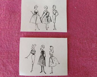 """Vintage Barbie """"BUSY GAL"""" REPRO Fashion Sketches Near Mint & Very Rare!!"""