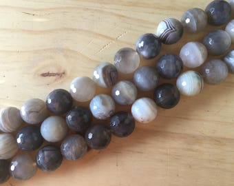 Faceted Banded Grey Agate, 16 mm, 16 inch strand