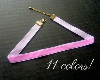 Choker Necklace Pink Choker Necklace Pink Velvet Choker 10mm Velvet Choker Plain Choker Plain Velvet Necklace Pink Collar Necklace Dainty
