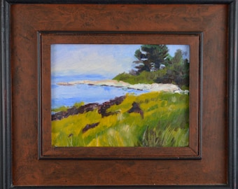 Framed Original Oil Painting, Maine Coast, by Robert Lafond