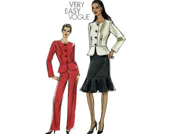 Women's Jacket with Peplum, Straight Skirt and Pants Sewing Pattern Misses / Plus / Petite Size 14-16-18-20 UNCUT Very Easy Vogue V8338