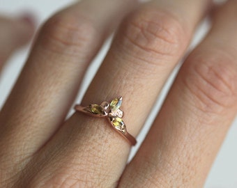 Gemstone Ring, Three Stone Ring, Yellow Ring, Rose Ring, Yellow Sapphire Ring, Marquise Ring, Rose Gold Engagement Ring, Minimalvs