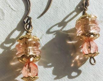 Peach Glass Earring Vintaj Brass Drop Earrings one of a kind Boho Style Lampwork Bead Earring