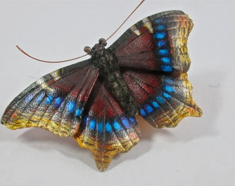 Leather Mourning Cloak butterfly brooch