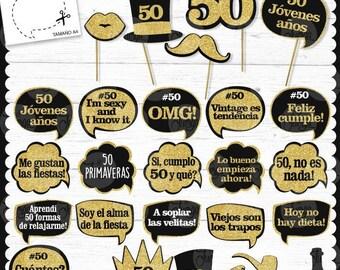50 años Photo Booth Props Imprimible Cumple 50 año - pdf printable
