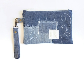 Clutch Wristlet, Clutch Bag, Clutch Purse, Wristlet, Wristlet Bag, Bag Clutch, Wristlet Purse, Denim Bag, Denim Clutch, Eco Friendly Bag
