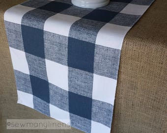 Navy Blue Plaid Table Runner Buffalo Check Table Linens Plaid Country Farmhouse Runner Kitchen Dining Room Home Decor