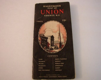 Vintage Hagstrom Map of Union County NJ New Jersey Fold Out With Street Index